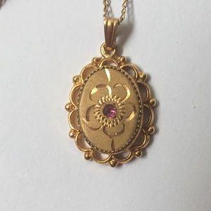 Vintage Gold Filled Pendant Necklace Etched Oval